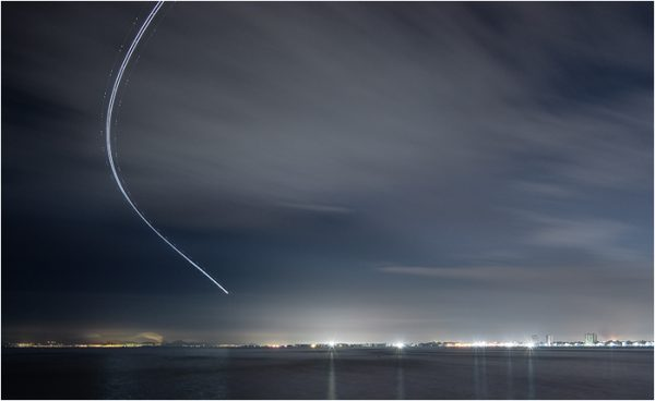 Despegue en la noche en el aeropuerto de San Javier. Mar Menor.